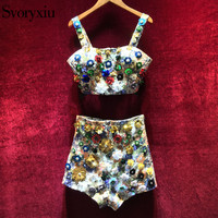 SVORYXIU Runway Designer Sexy 2 Piece Set Women High Quality Sleeveless Luxurious Applique Beading Top + Mini Shorts Clothes Set