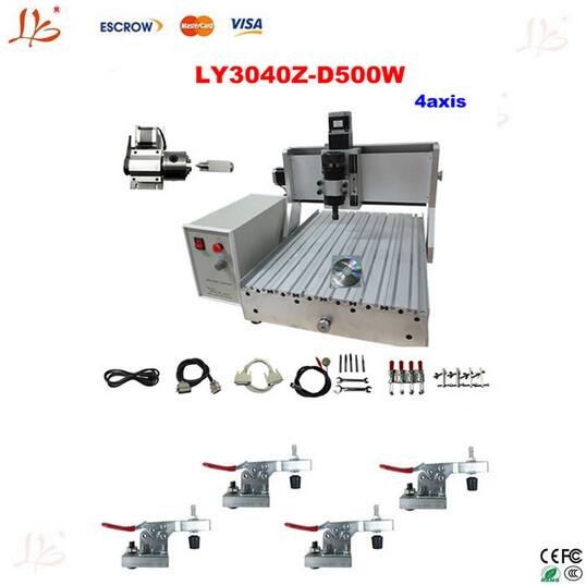 4axis CNC router 3040Z-D500W engraving machine,Assembled & tested well woodworking lathe +4pcs cnc clamp 4axis cnc router 3040z vfd800w engraving machine cnc carving machine cnc frame assembled