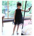 Summer new girls sleeveless lace short-sleeved dress Flap collar stand cheongsam kids dresses chinese style