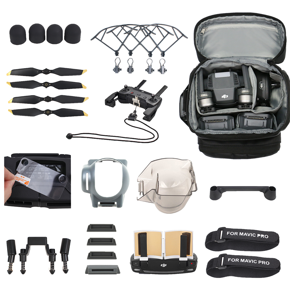 Mavic Drone Accessories Kits for DJI Mavic Pro Case Propeller Guard Camera Cover Controller Strap Landing Gear Legs Set 2017waterproof hardshell handbag carry box pouch cover bag case for dji spark quadcopter drone 2 batteries and other accessories