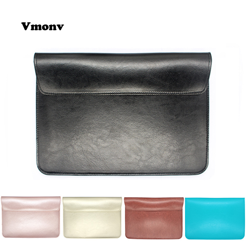 Vmonv Soft PU Leather Laptop Sleeve Cover Case For Macbook Air Pro Retina 11 12 13 15 Inch Bag for Macbook Pro A1706 A1708 A1707