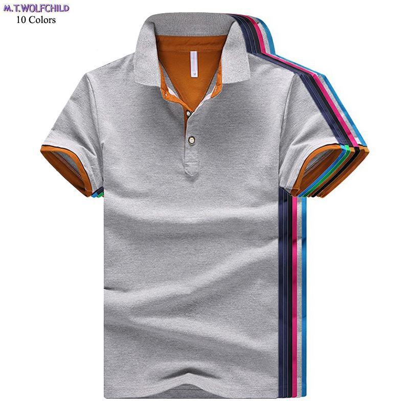 Good quality 2018 Summer New mens short sleeve   polos   shirts casual mens cotton   polos   shirts fashion mens tees slim tops M-4XL