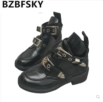 2019 New Punk Gothic Style Buckle Belts Women Shoes Rubber Boots Autumn Winter Ankle Boots Women Leather Mujer Zapatos2019 New Punk Gothic Style Buckle Belts Women Shoes Rubber Boots Autumn Winter Ankle Boots Women Leather Mujer Zapatos