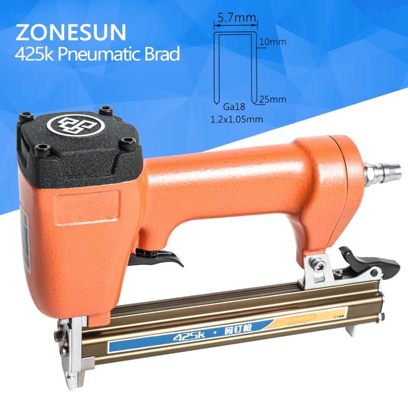ZONESUN 425k Pneumatic micro pinner nailer gun air brad nail gun for Furniture Wood Sofa woodworking Air Stapler 5.7mm width high quality meite 1013j pneumatic nail gun air stapler gun tool brad nailer gun u style free shipping furniture wood sofa