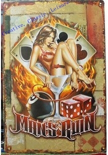 Free shipping Variety of casino sexy lady metal poster tin sign, sexy girl Poker game metal sign for pub bar wall decor ,30x20cm