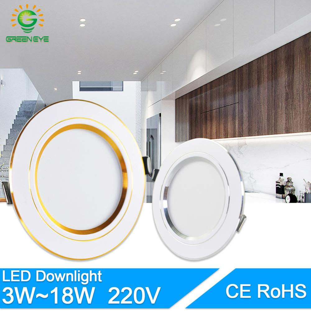 Led Downlight 3W 5W 9W 12W 15W 18W AC220V 240V Downlight Goud Zilver wit Ultra Dunne Aluminium Ronde Verzonken Led Spot Verlichting