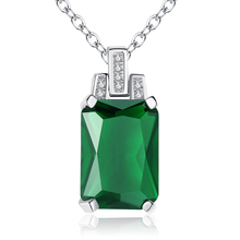 New Arrival Rectangle Green & White Cubic Zirconia Pendant Necklace Silver 925 Plated Chain Women Fashion Wedding Jewelry Party цена