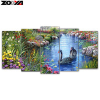 Zhui Star 5d Diy Diamond Embroidery Swan Lake 5pcs Multi Picture Combination Diamond Painting Cross Stitch