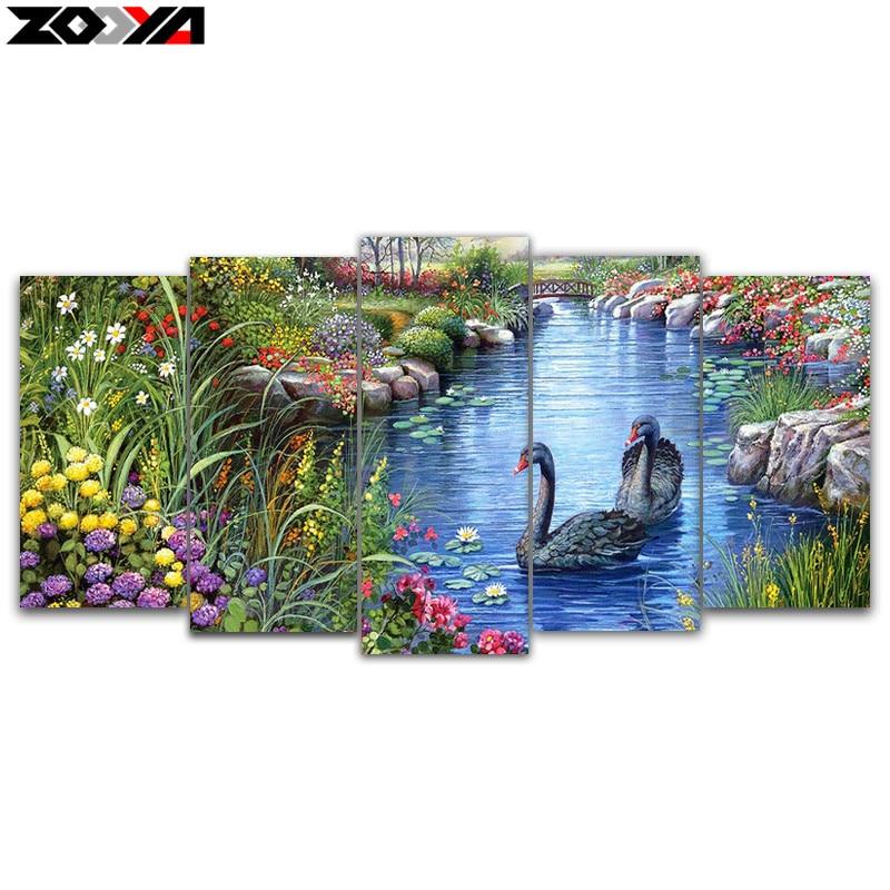 Zhui Star 5d Diy Diamond Embroidery Swan Lake 5pcs Multi Picture Combination Diamond Painting Cross Stitch