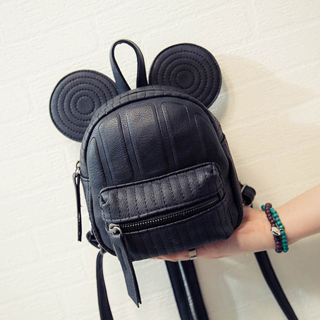 Girls Backpacks 2017 Summer Cartoon Mouse Big Ear Mini Cute Bags Backpacks  PU Leather Kids Children