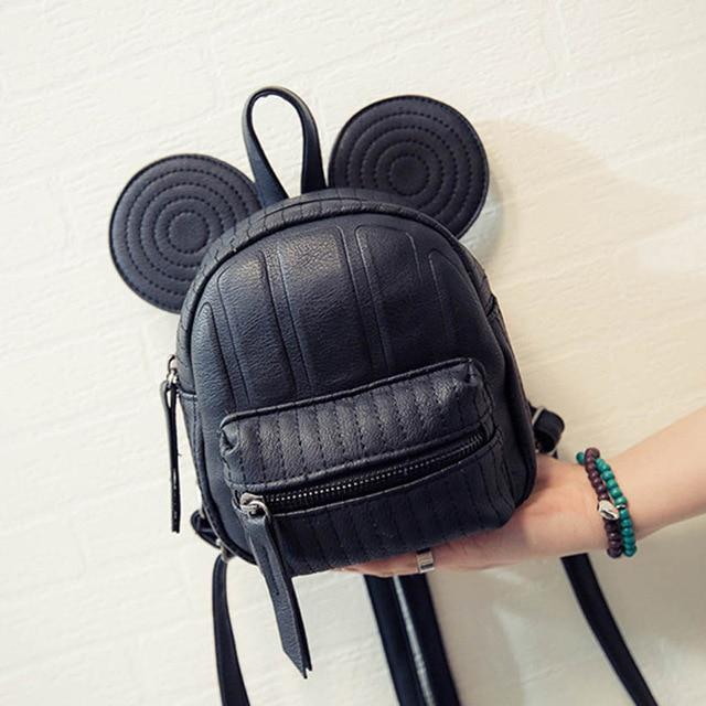 Girls Backpacks 2017 Summer Cartoon Mouse Big Ear Mini Cute Bags Backpacks  PU Leather Kids Children