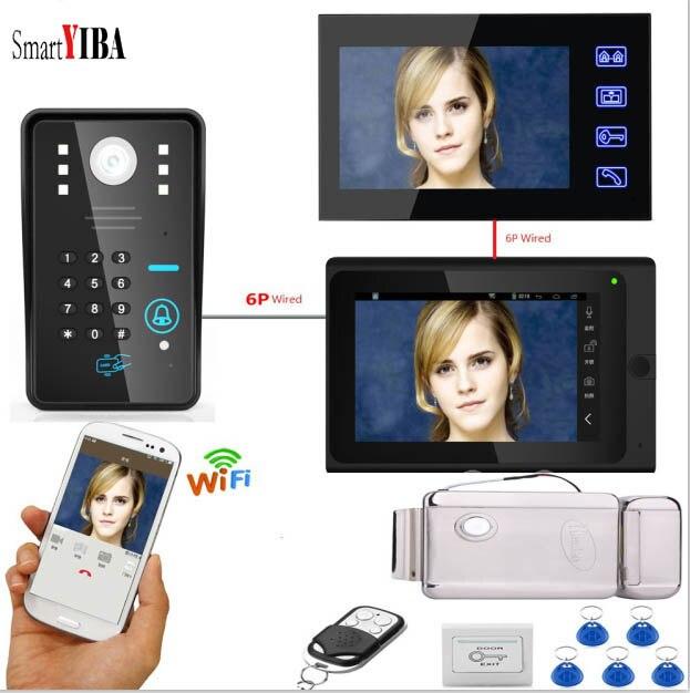 SmartYIBA 7 Rfid Card Electronic Door Lock Intercom Video Door Phone WIFI APP Password Unlock Video Doorbell+12V Power Supply