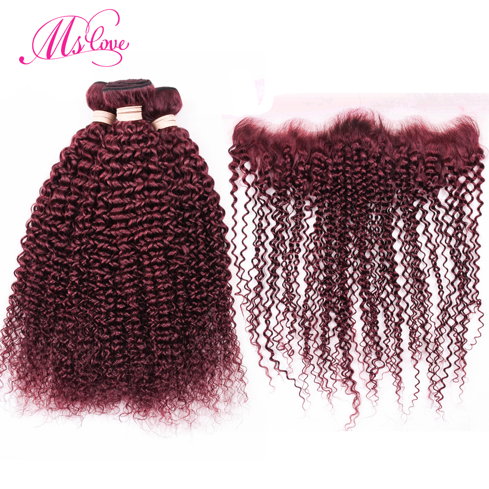 Ms Love 99J Burgundy Kinky Curly Bundles With Frontal Remy Human Hair Bundles With Closure 13*4 Lace Frontal With Dark Red Hair