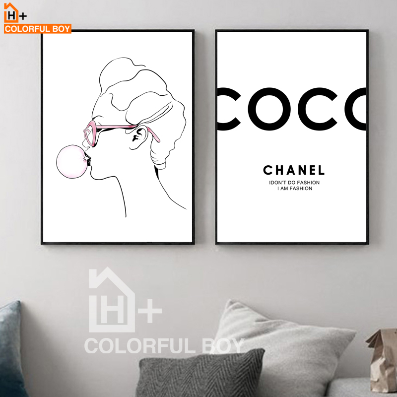 COLORFULBOY Coco Girl Nordic Posters And Prints Black White Wall Art Canvas Painting Pop Art Wall Pictures For Living Room Decor