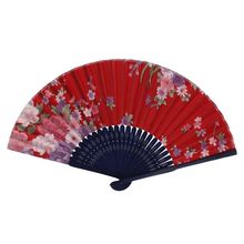 Hot Sale Chinese Style Floral Pattern Summer Folding Hand Fan Red, Pink, Blue, Green Dance Wedding Party Held