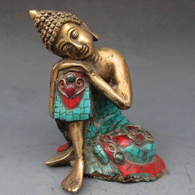 6.3 inch / The copper, Tibet and Nepal turquoise meditation Buddha carving6.3 inch / The copper, Tibet and Nepal turquoise meditation Buddha carving