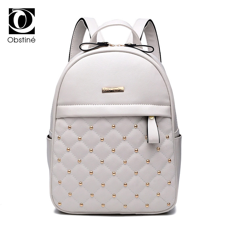 Rivet Backpack Female Womens Black and White Backpacks Fashion PU Leather Bagpacks for Teenage Girls Solid Small Back Pack Women jxsltc womens pu leather rivet backpack female backpack for adolescent girl casual small backpacks women pouch fashion lady bag