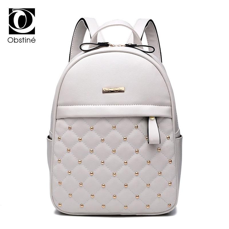 Rivet Backpack Female Womens Black And White Backpacks Fashion PU Leather Bagpacks For Teenage Girls Solid Small Back Pack Women