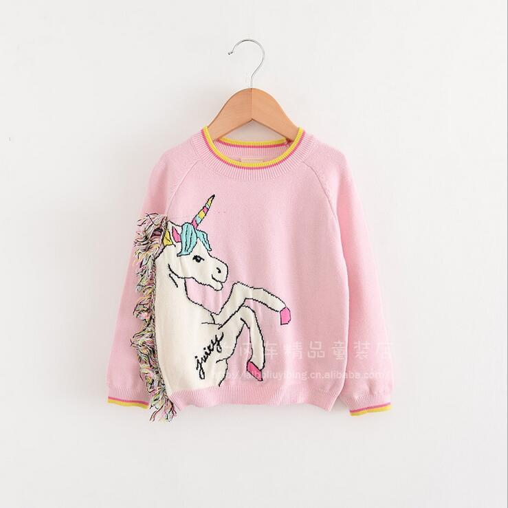 Fall Winter Baby Girl Lovely Pink Unicorn Sweatershirt