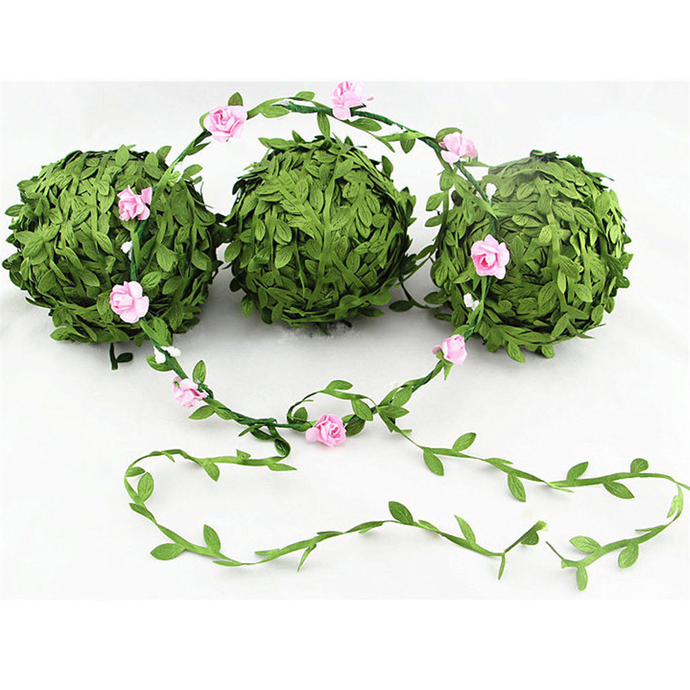 5 Meter Silk Leaf-Shaped Handmake Artificial green Leaves For Wedding Decoration DIY Wreath Gift Scrapbooking Craft Fake Flower