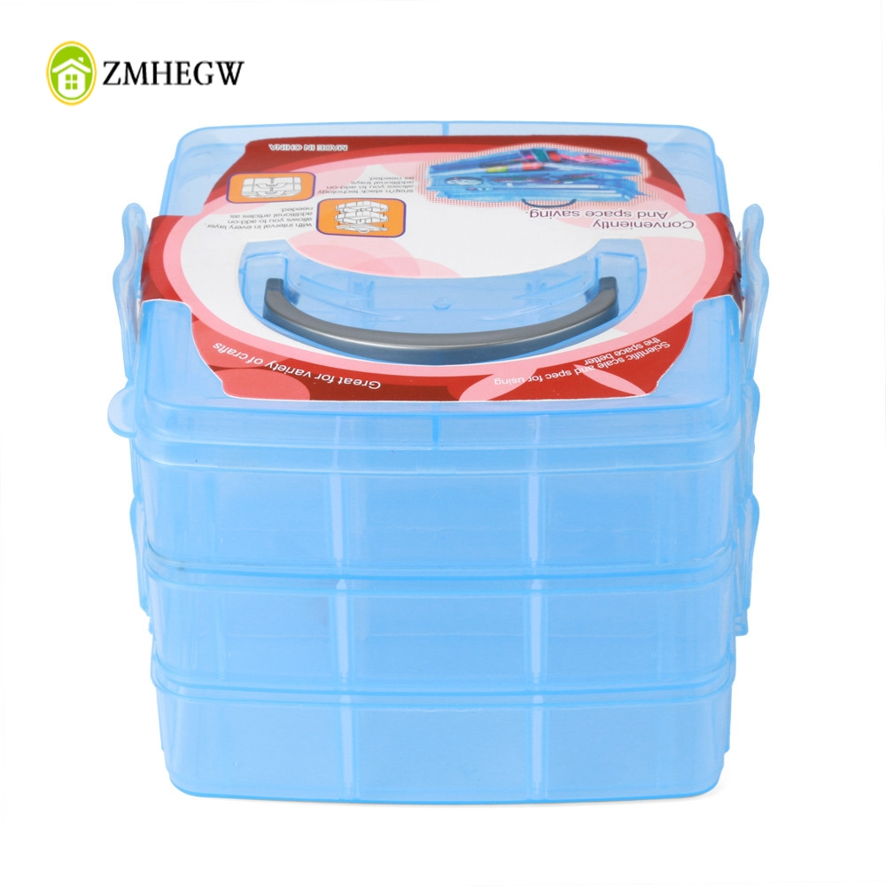 4 Colors Adjustable New Clear Plastic Jewelry Bead Storage Box Container Organizer Case Craft Tool Hot Display Organize