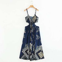 FIRSTTO Vintage Ethnic Floral Jumpsuit Lacing up Tied Bow Jumpsuit Spaghetti Strap Hollow Out Waist Back Sexy Romper Overalls