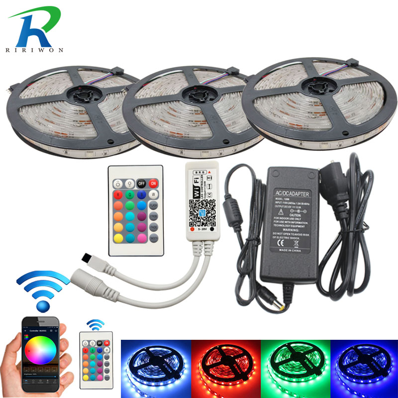 15M LED strip set RGB waterproof smd 5050 led Strip tape light 450LEDs +WIFI 24key Controller + 12V 6A Power adapter  DIY color 0 9m smd 3528 90 leds waterproof led rope light festival lighting