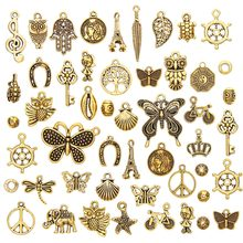 50 Pcs/Set New Style Antique Antique Gold Charm Pendants DIY Jewelry for Necklace Bracelet Craft Hanging Home Car Decoration(China)