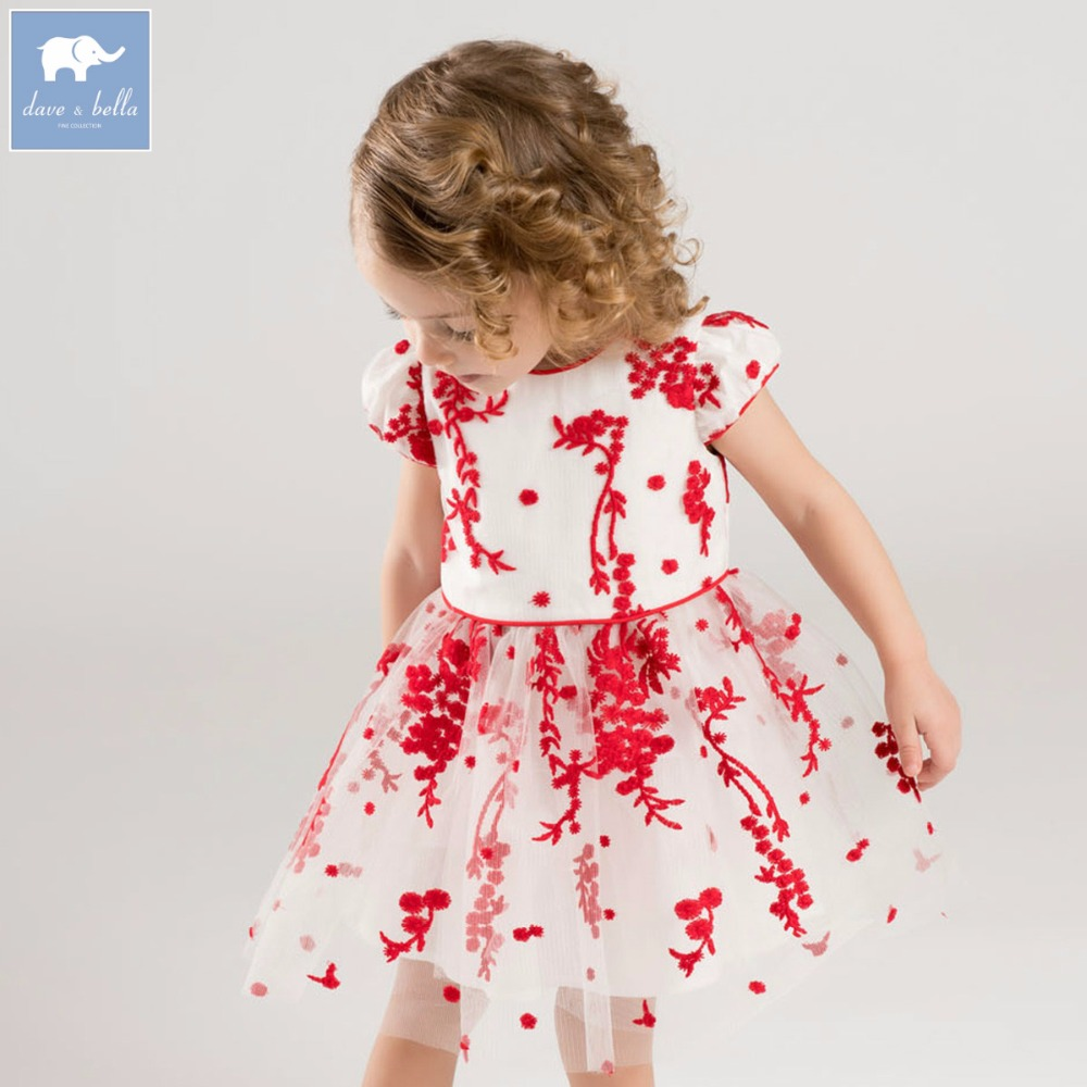 Dave bella Princess baby girl dress with big bow children party wedding gown summer floral clothes vestido infantil DB7578 children girls dress summer lace sleeveless holiday party wedding princess a line dresses girl clothes vestido infantil 2968w