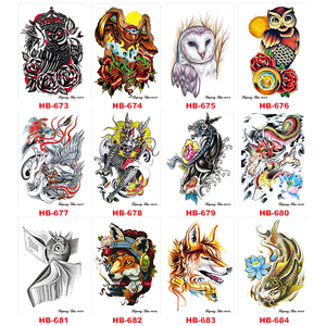 Image 4 - 1000 Pieces Wholesale Waterproof Temporary Tattoo Sticker 3D Decal Flower Owl Eagle Body Art Tattoo Sticker Sexy Makeup Products