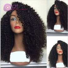 GQ 2016 New Style Brazilian Virgin Afro Kinky Curly Human Hair Side Parting Lace Front Wig 180 Density For Black Women Lacefront