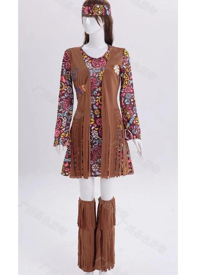 Womens Flower Power Groovy Hippie 60s 70s Hippy Ladies Adult Fancy Dress Costume