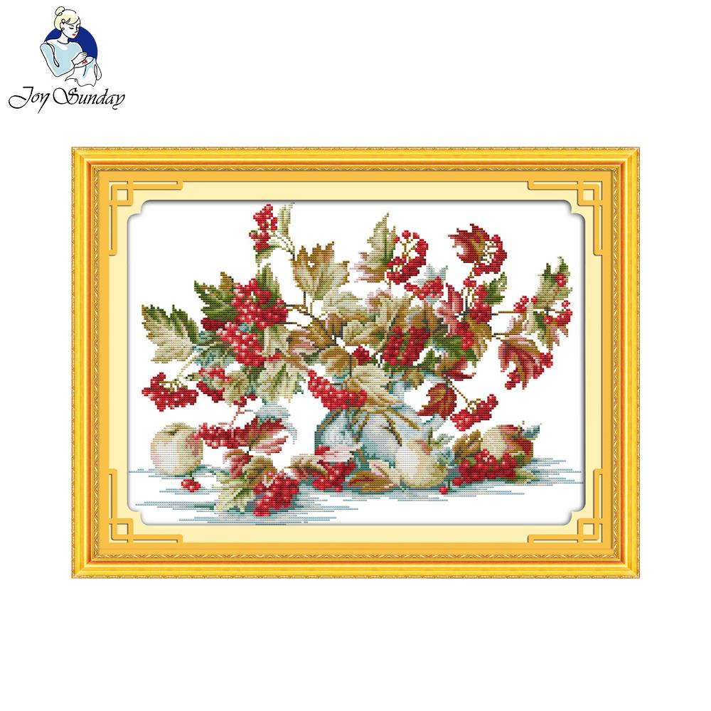 Joy Sunday Liitle red fruit Cross Stitch kits Still life Print Wall Art Painting Counted or Print On Canvas Pictures No Frame image