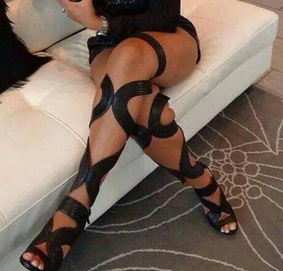Summer Thigh High Heel Black Leather Straps Cross Peep Toe Gladiator Boots Sexy Cut Out over knee Sandals Botines Shoes Women
