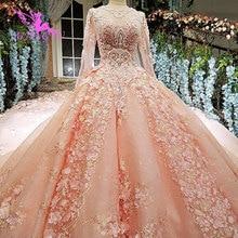 AIJINGYU לתפור חתונה שמלת פשוט שמלות תחרה כדור דובאי חדש 2021 2020 Weddimg שמלות חנויות סין מערבי כלה חתונה שמלה