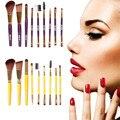 9 pcs Pro Pincéis de Maquiagem Cosméticos Sombra sobrancelhas pestanas Rosto Foundation Blending Kit de Higiene Profissional Pincéis de Maquiagem