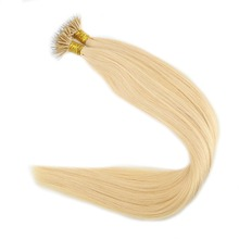 Full Shine Pre Bonded Nano Tip 0.8g Per Strand Color #613 Blonde Remy Human Hair Extensions 50 Strands 40 Grams Per Package