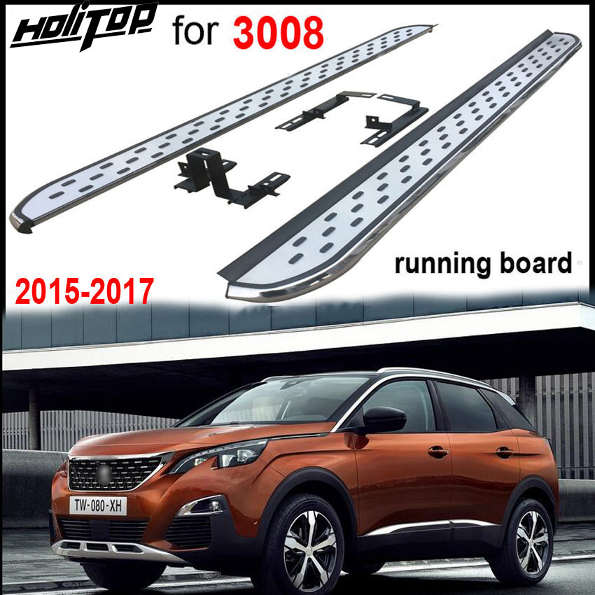 new running board side step pedals For Peugeot new 3008 2017 2018,very popular style in China,supplied by ISO9001 great factory
