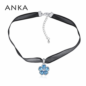 ANKA crystal from Swarovski choker necklace cute five flower lace torques necklace luxury fashion jewelry for women gift 25931