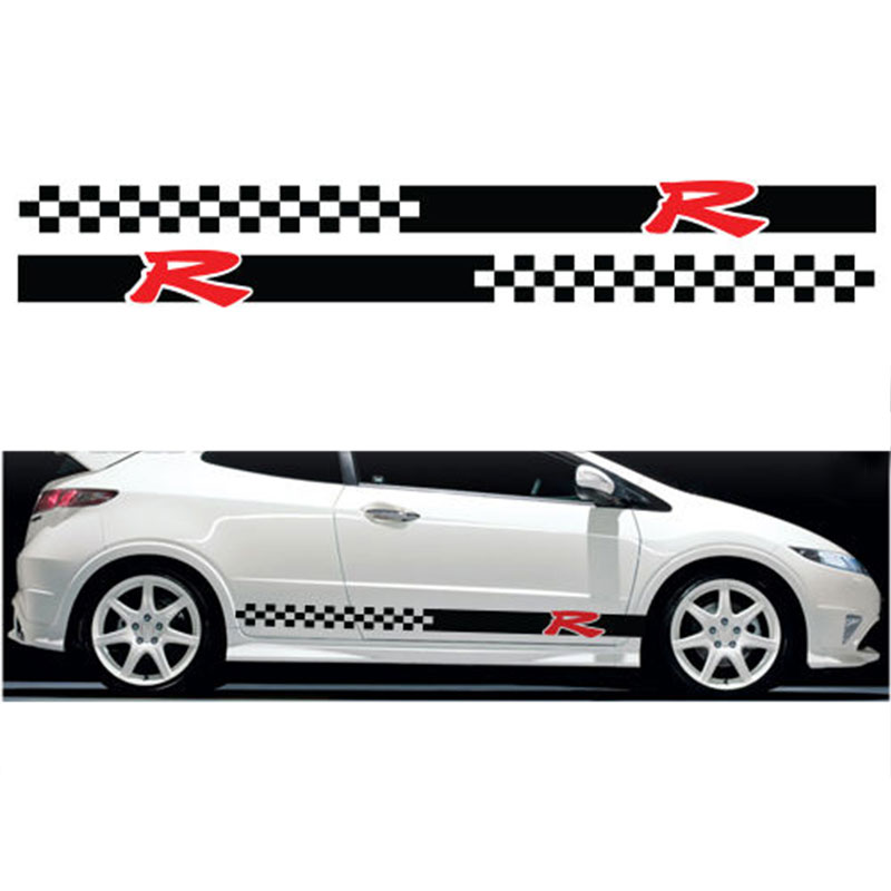 YONGXUN, 2PCS FOR Honda Civic Type R S side 003 racing stripes graphics stickers decals Car Styling Accessories DT-05678 sl outlet style car plastic abs decorative stickers black silver 2 pcs