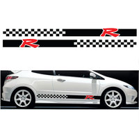 YONGXUN 2PCS FOR Honda Civic Type R S Side 003 Racing Stripes Graphics Stickers Decals Car