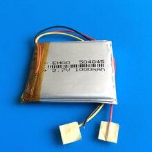 504045 3.7 V 1000 mAh de polímero de litio recargable Lipo batería de sustitución para el bluetooth GPS con cable de micrófono del teléfono móvil relojes