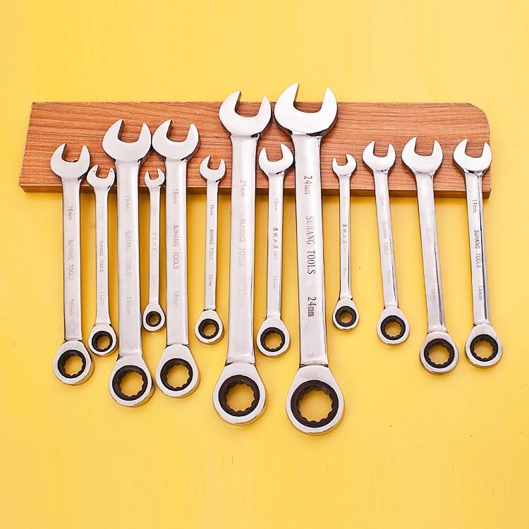 Ratchet metrický klíč s otevřeným koncem a klíčem na klíče Ratchet Handle Key Set Set Key Set and Matice Tools