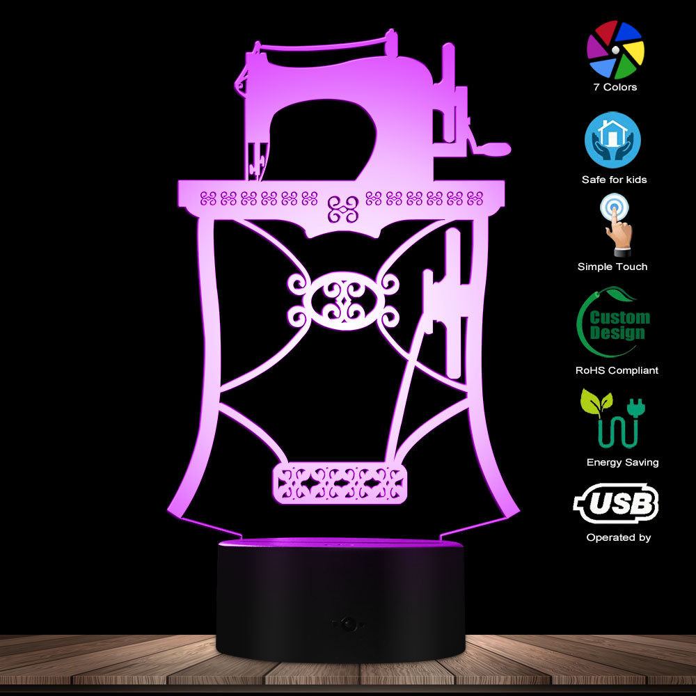 Sewing Machine Designed Lamp 3D Optical Illusion Novelty Light Tailor Shop Sewing Instruments Quilting Table Lamp Modern Light