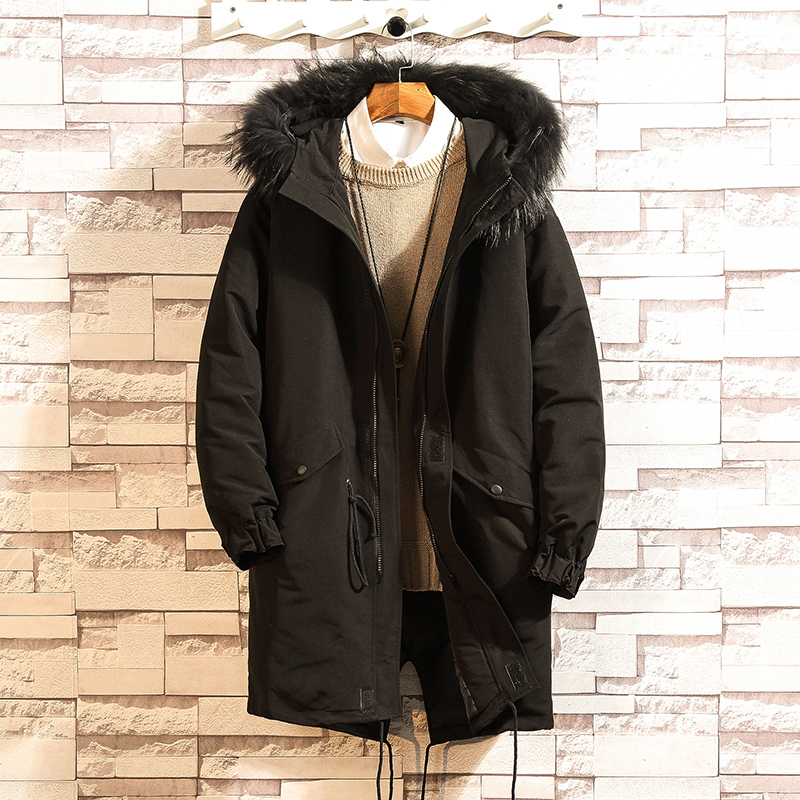 2018 new Winter Wild Real Fur Collar 90 Velvet Hooded Coat Men's Large size Loose Casual Black jacket More Size M XXXL 4XL 5XL