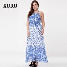 XURU M-6XL Plus Size Women Beach Dress Chiffon Printed Sleeveless Loose Ankle-Length Maxi Dresses Elegant Lady Casual