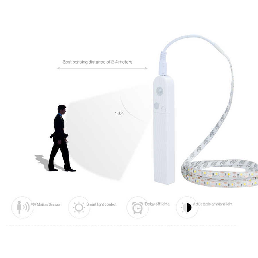 EeeToo PIR датчик движения светодиодная лента Водонепроницаемая батарея питание авто вкл/выкл 5 в 2835 usb-кабель светодиодный лента для кухонного шкафа спальни