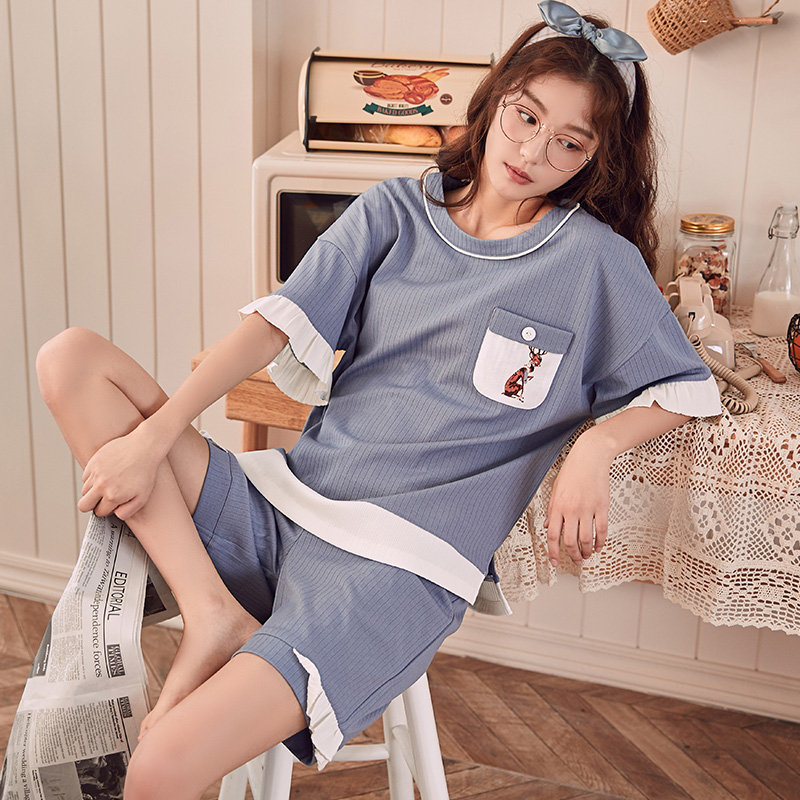 Summer Knitted Cotton Young Women's   Pajama     Set   Elegant Womens Pijama Nightgowns Pants   Pajama     Sets   Sleepwear Pyjamas Home Clothes