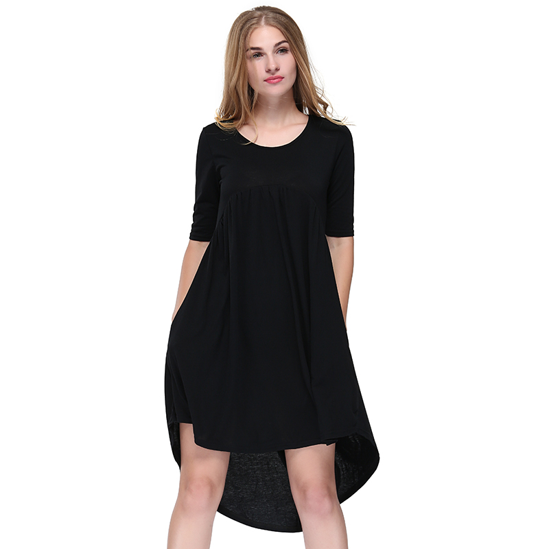Women Dress Round Neck Smock Irregular Dress Black Fashion Hot Sale Soft And Comfortable Spring And Summer New