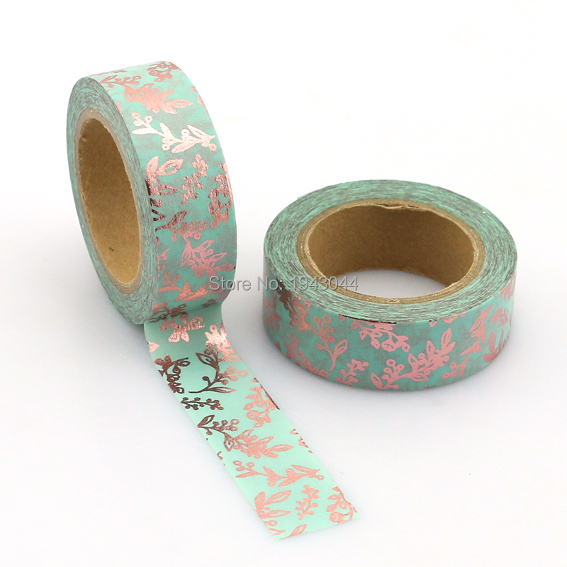 Blue Copper Floral Foil Washi Tape Paper Japanese 10m Kawaii Scrapbooking Tools Masking Tape for Packing Diy Decorative Tapes 1x original homemade japan and paper tape handbook diy essential meow stars washi tape papeleria scrapbooking japanese